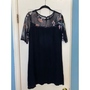 Mesh Top Floral Embroidered Dress